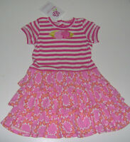 Baby Lulu Girls 100% Cotton Pink Striped Floral Dress 2t Or 3t