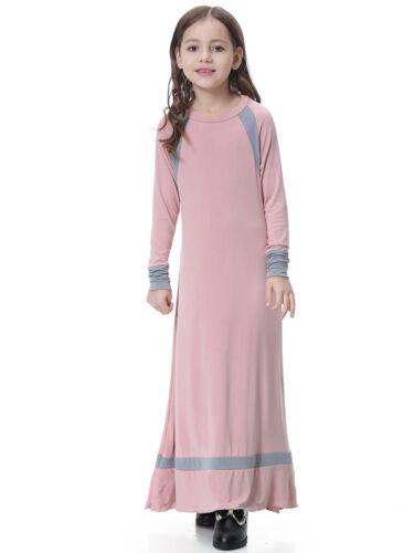 Muslim Abaya Kids Girls Dress Long Sleeve Kaftan Islamic Robes Children Dresses