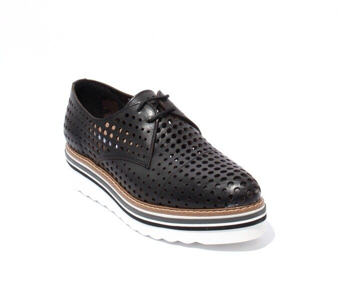 mujer Piu 52719 Negro blancoo Zapatos De Plataforma Plataforma Plataforma Con Cordones Cuero Perforado 37 US 7  Disfruta de un 50% de descuento.