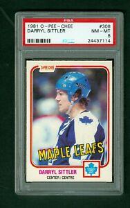 Darryl-Sittler-1981-82-O-Pee-Chee-card-308-Maple-Leafs-PSA-Graded-8-NMMT