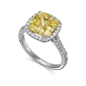 GIA CERTIFIED 4.06 CTW Diamond VVS1 Fancy Yellow Cushion Cut 18k White Gold Ring