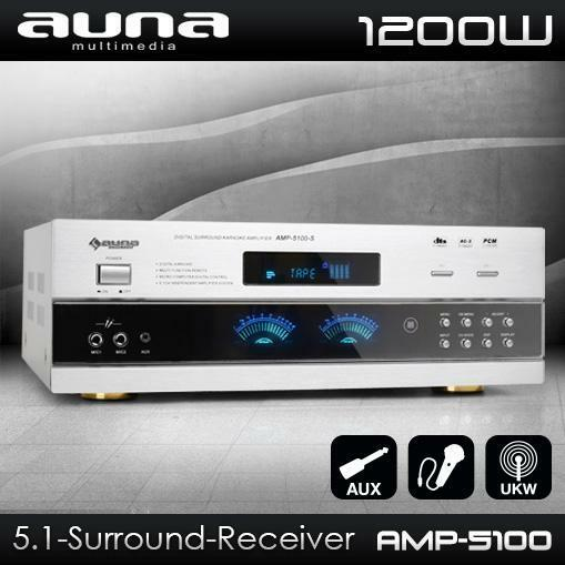 AUNA 5.1 SURROUND HIFI RECEIVER VOLLVERSTÄRKER DJ PA KARAOKE AMPLIFIER AMP 1200W