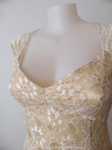 en kanten Us Mouwloze wikkeljas Rrp 695 Maat Monti 00 jurk gouden New 14 10 xZRFqHPz