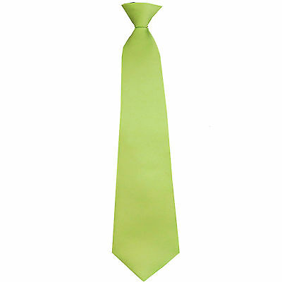 New 100/% Polyester Kids Clip On Pre Tied Neck tie solid orange Size 14