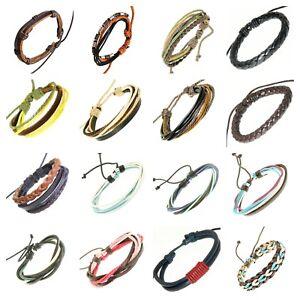 Leather-Wrap-Bracelet-Bangle-Braided-Rope-Multi-Layer-Cord-Jewellery-Men-Women