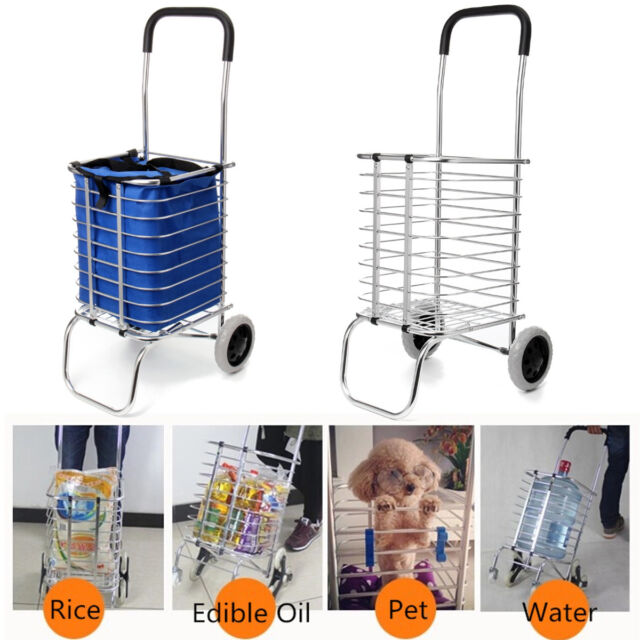 b6c7e2a7d5b 2 Wheel Aluminum Folding Portable Shopping Market Grocery Basket Cart  Trolley US