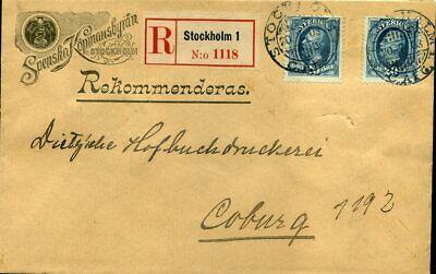 Schweden Nr 45 Coburg Auf Firmen-einschreiben Stockholm 1903 N 2 Kompetent 416310