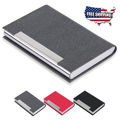 Stainless Steel Slim Pocket  leather Business Card Holder Case ID Credit Wallet