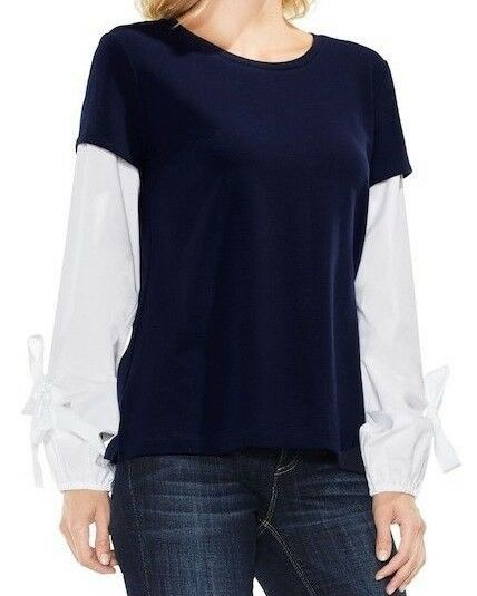 New Two by Vince Camuto Bubble Sleeve Mix Media Top