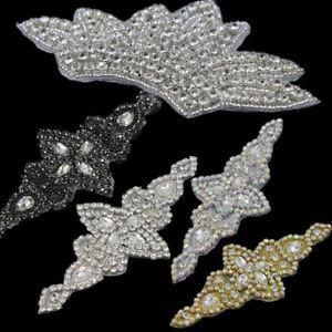 Bridal-Dress-Belt-Sash-Crystal-Rhinestone-Applique-Crafts-Sew-Iron-on-Motif-Trim