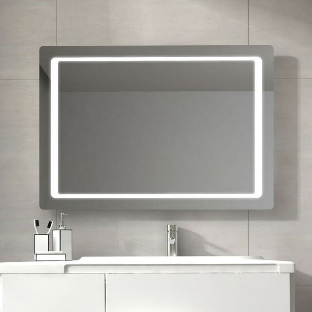 Magnificent Led Lighted Bathroom Mirror Wall Mounted Mirror With Sensor Switch 48X24 Bath Download Free Architecture Designs Scobabritishbridgeorg