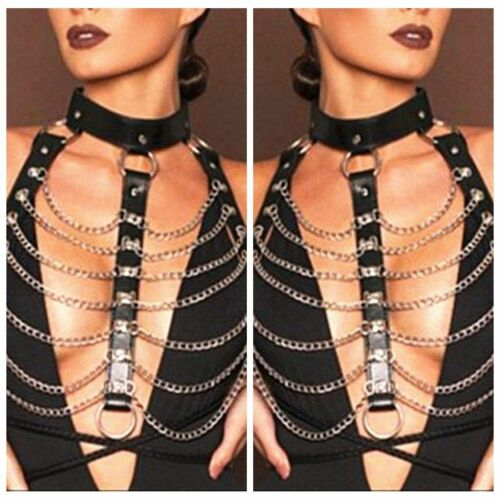 Nachahmung PU Leder Choker Punk Gothic Body Suit Metallkette Kostüm