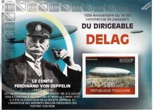 Ferdinand-Von-Zeppelin-amp-Delag-compagnie-aerienne-Dirigeable-Avion-Timbre-Feuille-2010-Togo