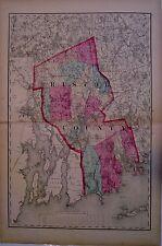 Original 1871 Bristol County Massachusetts Map Ma Mass Atlas Plat NR