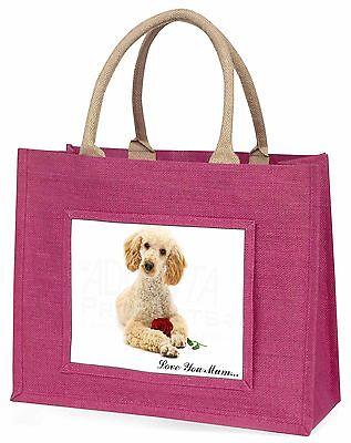 Pudel+Rose 'Liebe, die Sie Mama' Große Rosa Einkaufstasche Weihnachten Geschenk,