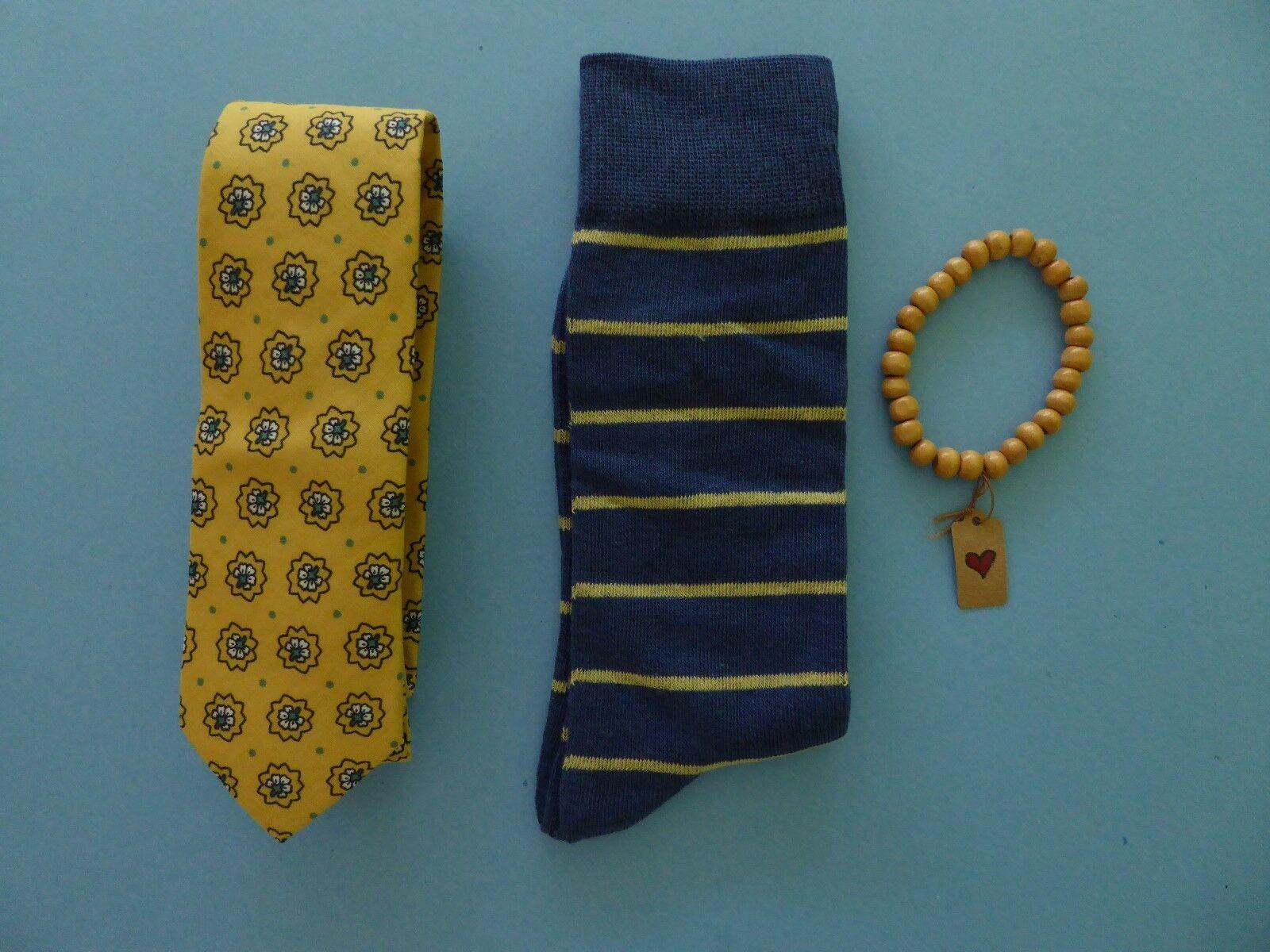 Harrison Blake Floral Yellow Tie + Tropicalia Handcrafted Bracelet + Blue Socks