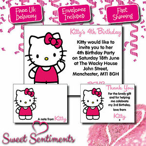 personalised hello kitty birthday party invitation thank you card