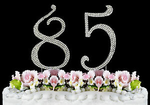 Image Is Loading NEW Large Rhinestone NUMBER 85 Cake Topper 85th