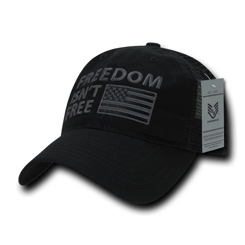 Rapid Rapid Rapid Dominance USA Flag Freedom Patriotic Military Relaxed Fit Trucker Cap Hats 309a59