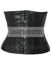 Shaper Cincher Taillen Waspie Steel Boned Waistbust Real Black Leather Corset