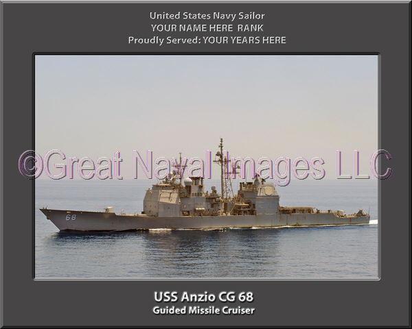 USS Anzio CG 68 Personalized Canvas Ship Photo Print Navy Veteran Gift