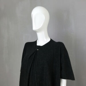 Lanvin-Black-Charcoal-Gray-WOOL-Oversize-Jumper-Dress-Diamante-Size-Small-US2-4