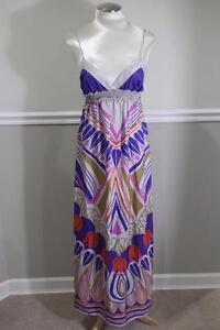 LILKA-Women-039-s-Grey-Purple-Silk-Pattern-Maxi-Dress-SIZE-S-DR1000