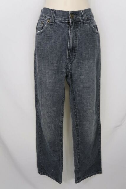 Fusai Mens Dark Charcoal Grey Distress Denim Jeans Size 32 x 30