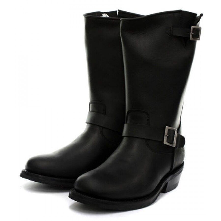 Grinders Boot Ladies Rebel Biker Bike Safety Heel Boot Grinders Sole Black Leather Boots d931ee