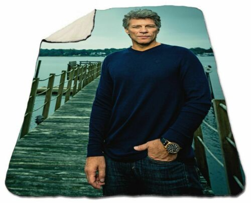 "Jon Bon Jovi Blanket Sherpa Fleece Winter 60/"" x 80/"" Queen Size NEW Warm Soft"