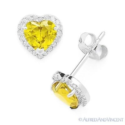Yellow Heart-Shape CZ Crystal Halo Faux Citrine Stud Earrings in Sterling Silver