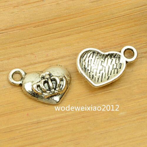 20pc Retro Tibetan Silver Charms Heart Crown Pendant Beads Wholesale JP807