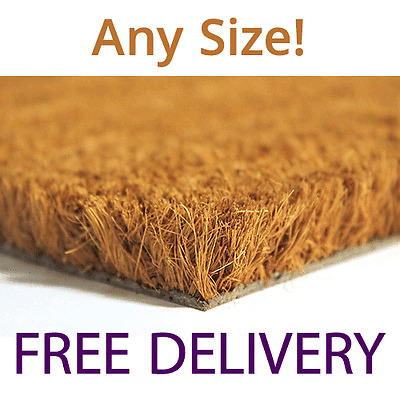 Coir Doormat Plain Natural Heavy Duty 23mm 1m / 2m Wide Any Size Mat