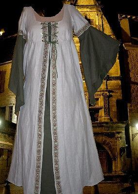 Medieval Renaissance SCA Garb Costume TanSage1Pc Laceup LOTR Butterfly Slvs L XL