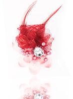 Headdress Flower Feather Rhinestone Hair Pin Brooch Clip Party Wedding Wine Red