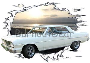 1964 Blue Chevy Impala Convertible Custom Hot Rod USA T-Shirt 64 Muscle Car Tees