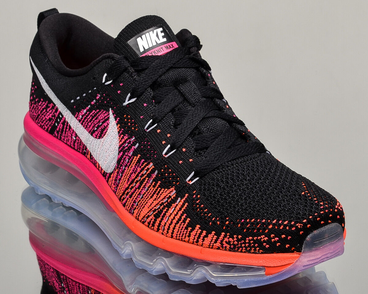 Nike WMNS Flyknit Max womens running run sneakers air NEW black pink orange