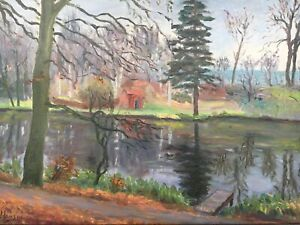 Oil-Painting-Naturalist-Johan-Hansen-At-Forest-Lake-With-Home-48-5-x-67-5