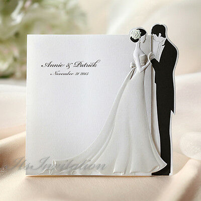 White 3D Bride and Groom Wedding Invitations Cards Env & Silver Seals BH2069