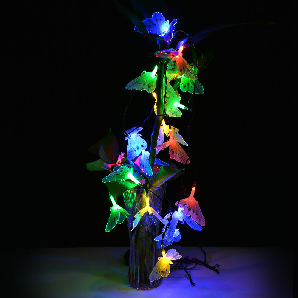 Colorful String Lights : 12 Led Fiber Optic Butterfly Solar String Light Colorful Decorative Party Lights eBay