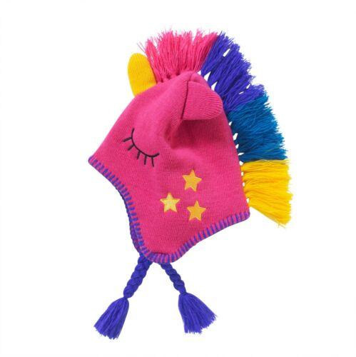 Girls Unicorn Knitted Winter Hat Pull On Fleece Lined Tassel Pink Multicoloured