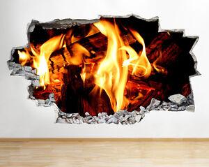 C827-Llamas-de-fuego-de-registro-Relax-pegatina-pared-vinilo-3d-habitacion-ninos