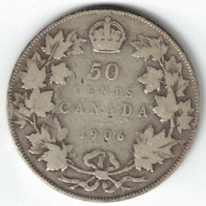 CANADA-1906-50-CENTS-HALF-DOLLAR-KING-EDWARD-VII-STERLING-SILVER-CANADIAN-COIN