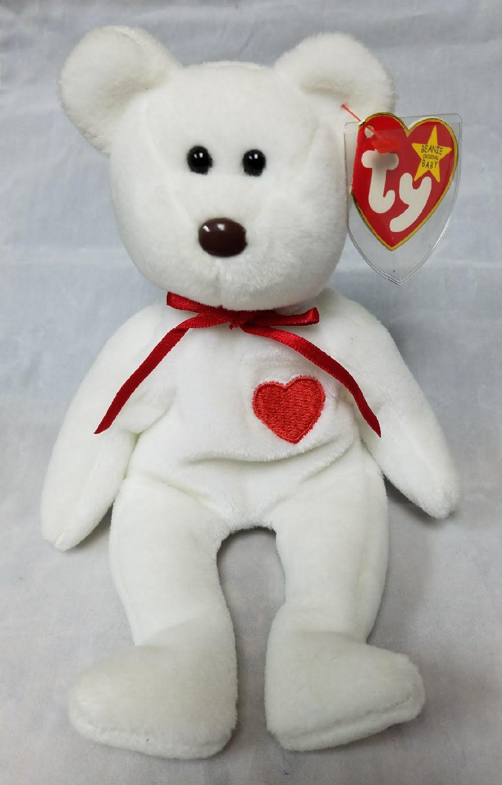 Ty rentner beanie baby valentino die bär - äußerst selten mit 7 fehler