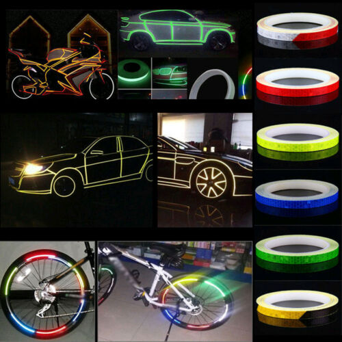 8m Wheel Reflective Sticker Rim Luminous Warning Decals for Bike Car Scooter