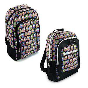 Backpack-Funky-Owl-Print-Rucksack-Travel-School-Gym-College