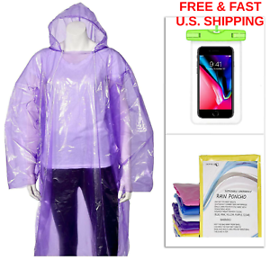 EMERGENCY Survival Rain  Ponchos W Hood Drawstring FREE Phone Pouch WATERPROOF  comfortably