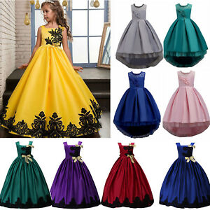 a3eca26328d91 Details about Lace Flower Girls Dress Full-Length Formal Ball Gown for Kids  Wedding Bridesmaid
