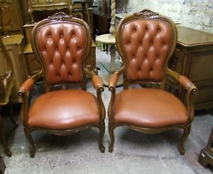 Phenomenal Details About French Louis Xv Style Pair Of Leather Open Armchairs Cobboc2 Squirreltailoven Fun Painted Chair Ideas Images Squirreltailovenorg
