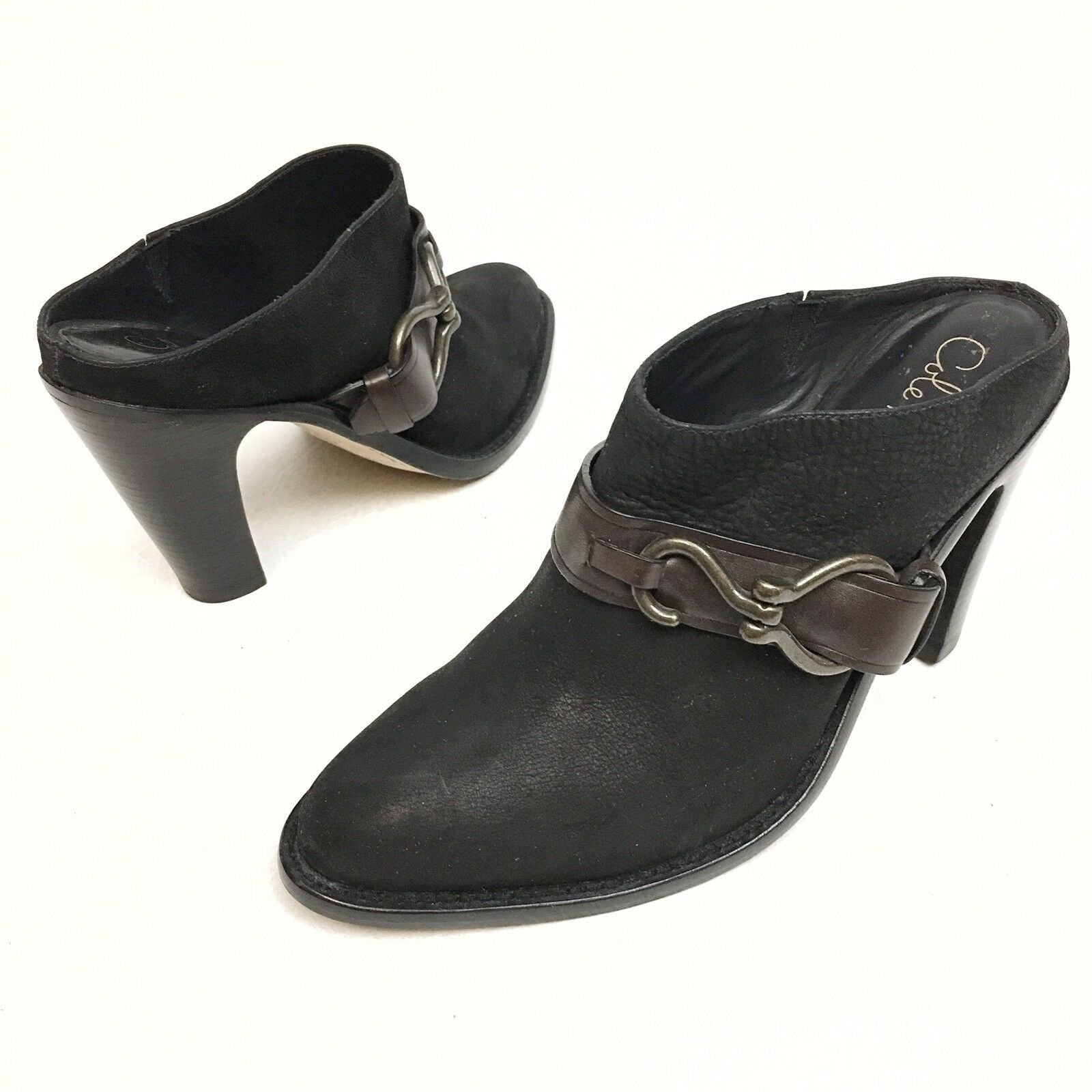 Cole Haan Nikeair Women's Bl Brown Leather Heel Slip On Mule Bootie shoes 9AA